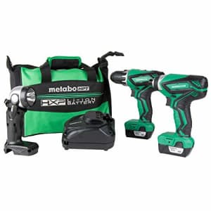 Metabo HPT Cordless Combo Kit, 12V Peak, Compact Driver Drill & Impact Driver, Includes 2-12V for $216