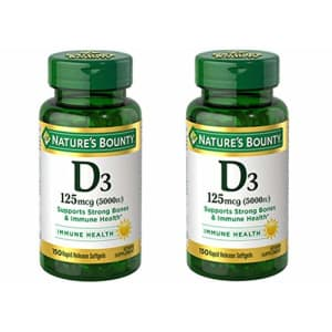 Nature's Bounty Vitamin D3 125mcg (5000 IU), 150 Rapid Release Softgels (Pack of 2) for $30
