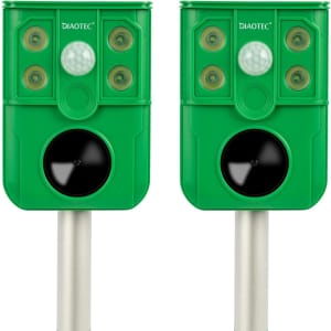 Diaotec Solar Ultrasonic / Flashing Light Animal Repeller 2-Pack for $38