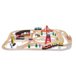 Melissa & Doug 130-Piece Wooden Railway Set for $98