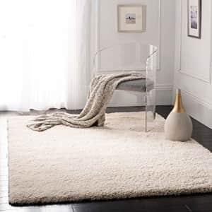 """Safavieh California Premium Shag Collection SG151-1212 2-inch Thick Area Rug, 6' 7"""" Square, Ivory for $153"""