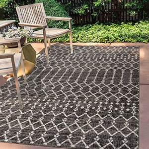 JONATHAN Y Ourika Moroccan Geometric Textured Weave Indoor/Outdoor Black/Gray 3 ft. x 5 ft. Area for $29