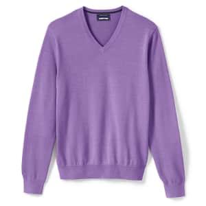 Lands' End Men's Supima Cotton V-Neck Sweater for $12