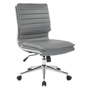 Office Star Faux Leather Armless Mid Back Managers Chair with Chrome Base, Charcoal for $240