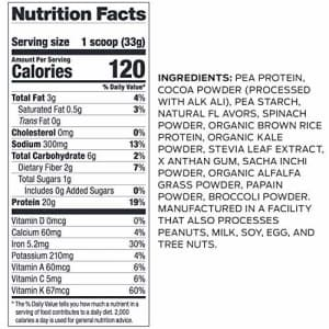 Vega Protein and Greens, Chocolate, Plant Based Protein Powder Plus Veggies - Vegan Protein Powder, for $29
