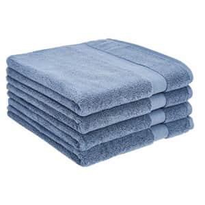 AmazonBasics Dual Performance Bath Towel - 4-Pack, True Blue for $35
