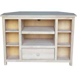 """International Concepts 40"""" Unfinished Solid Hardwood Corner TV Stand for $230"""