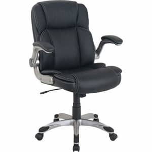 Lorell Soho Flip Armrest Mid-Back Leather Chair, Black for $140