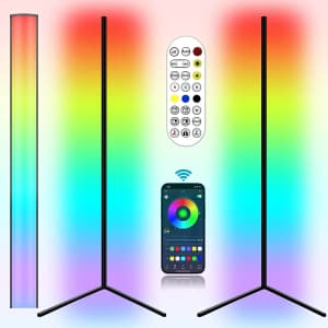 LZHome Color-Changing LED Smart Floor Lamps 2-Pk. for $72