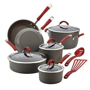 Rachael Ray Cucina Hard Anodized Nonstick Cookware Pots and Pans Set, 12 Piece, Gray with Red for $176