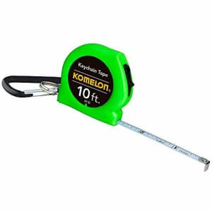 Komelon Keychain Tape Measure Acrylic Coated Steel Blade, Green (10 ft by 1/4 inch) for $16