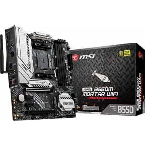MSI MAG B550M Mortar WiFi Gaming Motherboard (AMD AM4, DDR4, PCIe 4.0, SATA 6Gb/s, M.2, USB 3.2 Gen for $306