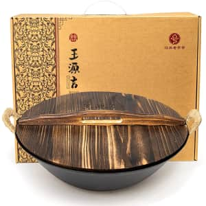 """Wangyuanji 13.4"""" Cast Iron Wok with Wooden Lid for $90"""