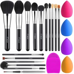 Bestope 16-Piece Makeup Brush Set with 4-Piece Blender Sponges for $6