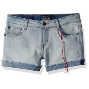 Lucky Brand Big Girls' 5-Pocket Cuffed Stretch Denim Short, Riley Bella wash, 12 for $26