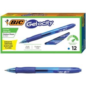 Bic Gel-ocity Retractable Gel Pen 12-Count Pack for $4