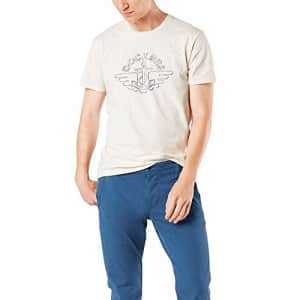 Dockers Men's Short Sleeve Crewneck T-Shirt, Egret Gray Logo (Alpha), Small for $17
