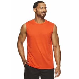 HEAD Men's Hypertek Mesh Gym Training & Workout Muscle Tank - Sleeveless Activewear Top - Mandarin for $25