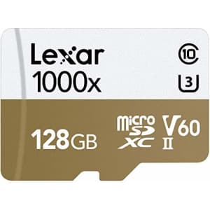 Lexar Professional 1000x microSDXC 128GB UHS-II/U3 (up to 150MB/s Read) with USB 3.0 Reader Flash for $169