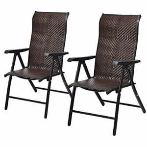Tangkula 2 Piece Patio Rattan Folding Reclining Chair, Outdoor Wicker Portable Camping Chair with for $210