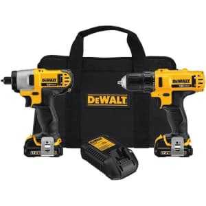DeWalt 12V MAX Cordless Li-Ion Impact Driver and Drill Combo Kit for $99 in cart