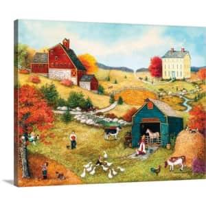 """GreatBigCanvas """"Fall on the Farm"""" 30"""" x 24"""" Canvas Wall Art for $55"""