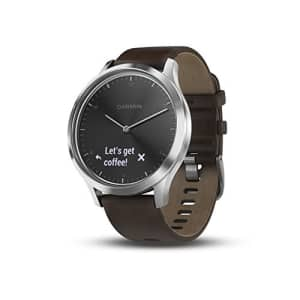 Garmin vvomove HR, Hybrid Smartwatch for Men and Women, Black/Silver with Leather Band, Large for $130