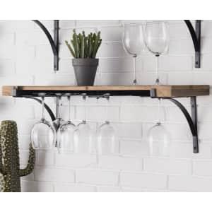 StyleWell Wall-Mounted Hanging Wine Glass Organizer Shelf for $44
