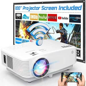 TMY 5,500-Lumen Wireless WiFi Projector with Screen for $130