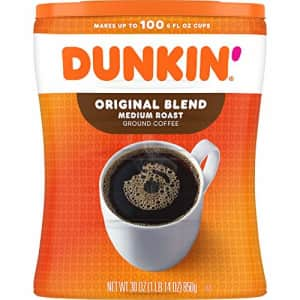 Dunkin Donuts Dunkin' Original Blend Medium Roast Ground Coffee Canister, 30 Ounces (Packaging May Vary) for $14