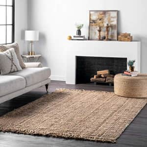 nuLOOM Hand Woven Chunky Natural Jute Farmhouse Area Rug, 4' Square, Natural for $99