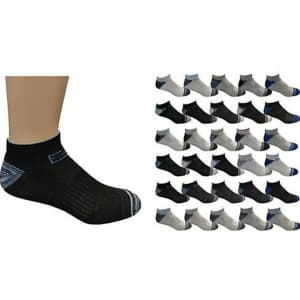 Men's Active Low-Cut Ankle Socks 50-Pack for $27