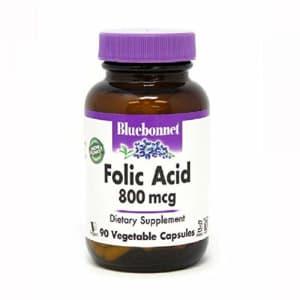 Bluebonnet Folic Acid 800 mcg Vegetable Capsules, 90 Count for $9