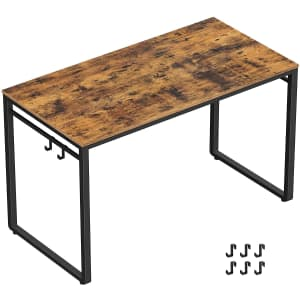 """Vasagle 39.4"""" Office Desk with Hooks and Rails for $41"""