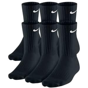 Nike Men's Crew Socks 6-Pack for $15