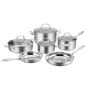 Cuisinart MultiClad Tri-Ply Stainless Steel 10-Piece Cookware Set for $113