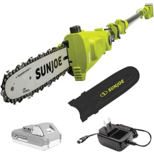 "Sun Joe 24V 10"" Telescoping Pole Chainsaw Kit for $90"