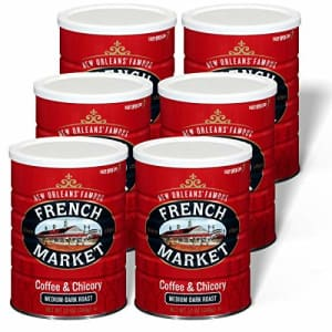 French Market Coffee, Coffee and Chicory, Medium-Dark Roast Ground Coffee, 12 Ounce Metal Can (Pack for $30