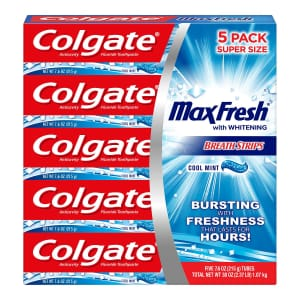 Colgate MaxFresh Toothpaste 7.6-oz. Tube 5-Pack for $9 for members