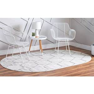 Unique Loom Trellis Frieze Collection Lattice Moroccan Geometric Modern Oval Rug, 3 x 5 Feet, for $42