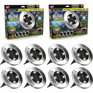 Bell & Howell Solar In-Ground LED Disk Light 8-Pack for $34