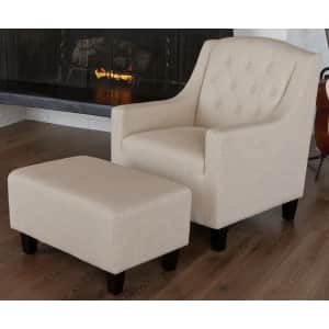 Noble House Elaine Tufted Club Chair and Ottoman Set for $275