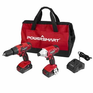 PowerSmart 20V Cordless 2-Tool Combo Kit with 1.5Ah Handheld Drill/Driver and Impact Driver for $90