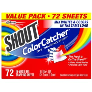 Shout Color Catcher Dye Trapping Sheets 72-Pack for $7.95 via Sub & Save