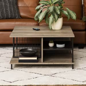 Walker Edison Metal and Wood Square Coffee Table for $141