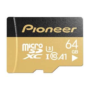 Pioneer 64GB microSD Premium with Adapter - C10, U3, A1, V30, 4K UHD Memory Card for $9