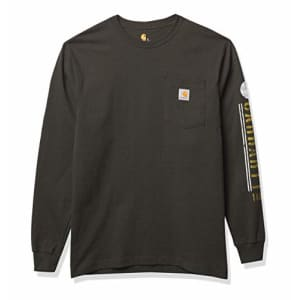 Carhartt Men's Big & Tall Relaxed Fit Heavyweight Long-Sleeve Pocket Logo Graphic T-Shirt, Peat, 30 for $16