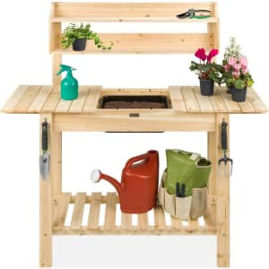 Best Choice Products Potting Bench w/ Sliding Tabletop for $100