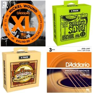 Ernie Ball & D'Addario Guitar String Packs at Guitar Center: Free shipping