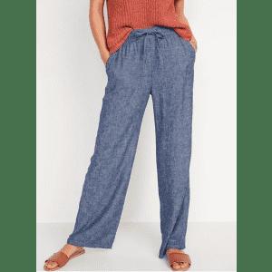 Old Navy Women's High-Waisted Wide-Leg Linen-Blend Pants for $13